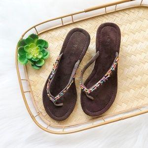 Boho Brown Beaded Thong Wedge Sandal